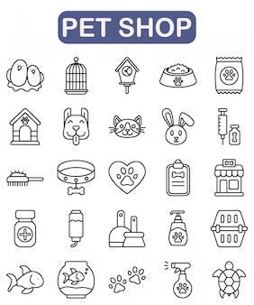 Conjunto de ícones de pet shop, estilo de estrutura de tópicos premium