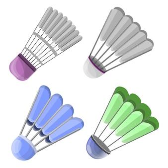 Conjunto de ícones de peteca. conjunto de desenhos animados de ícones de vetor peteca para web design