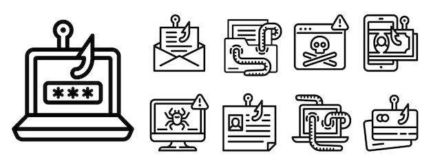 Conjunto de ícones de phishing, estilo de estrutura de tópicos