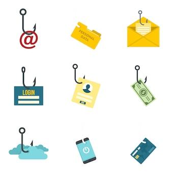Conjunto de ícones de phishing