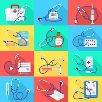 Conjunto de ícones de phonendoscope