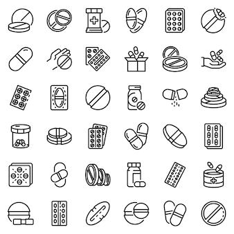 Conjunto de ícones de pílula