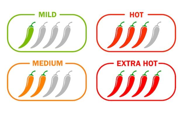 Conjunto de ícones de pimenta malagueta picante gravidade de moderada a muito quente ilustração plana simples