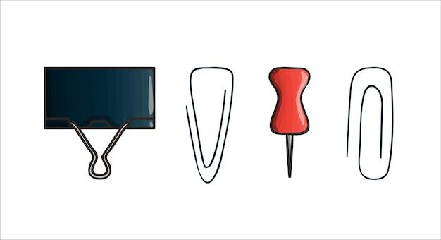 Conjunto de ícones de pin e clipe. artigos de papelaria coloridos vetoriais, materiais de escrita, material de escritório ou escolar isolado no fundo branco. estilo cartoon