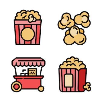 Conjunto de ícones de pipoca, estilo de estrutura de tópicos