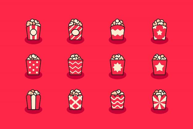 Conjunto de ícones de pipoca
