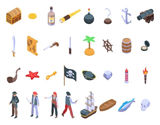 Conjunto de ícones de pirata, estilo isométrico