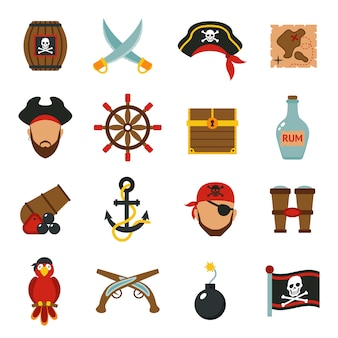 Conjunto de ícones de pirata plana