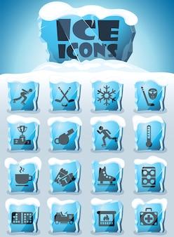 Conjunto de ícones de pista de gelo