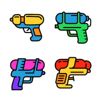 Conjunto de ícones de pistola de água, estilo de estrutura de tópicos