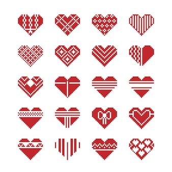 Conjunto de ícones de pixel de coração dia dos namorados