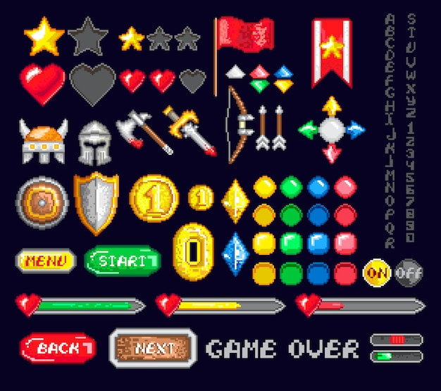 Conjunto de ícones de pixel game art