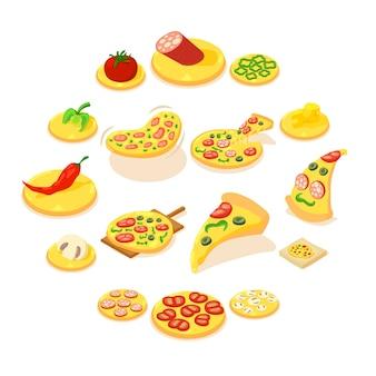 Conjunto de ícones de pizza, estilo isométrico