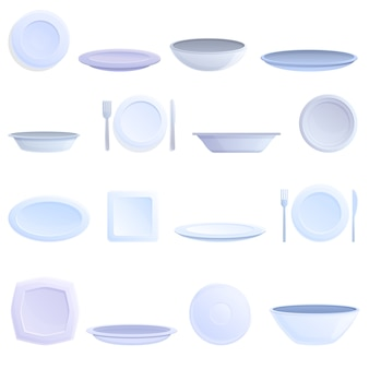 Conjunto de ícones de placa. conjunto de desenhos animados de ícones de vetor de placa