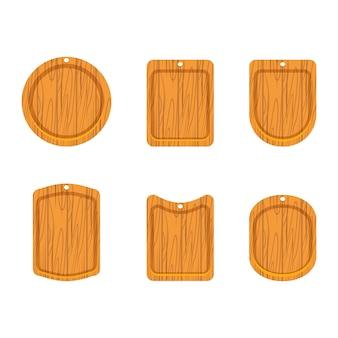 Conjunto de ícones de placa de corte de madeira
