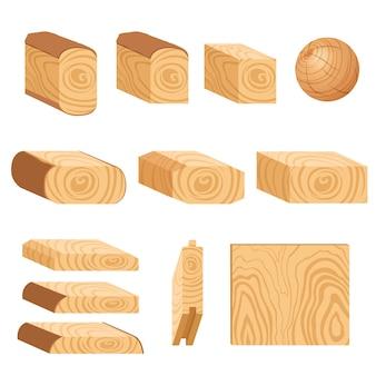 Conjunto de ícones de placas de madeira texturizadas, barras e partes de uma árvore.