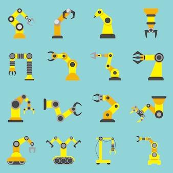 Conjunto de ícones de plano amarelo robótico braço