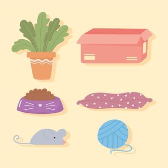 Conjunto de ícones de planta, caixa, almofada, ração, mouse e bola de linha