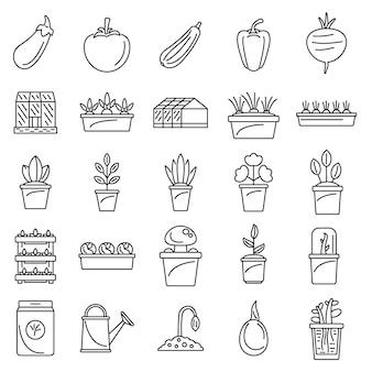 Conjunto de ícones de planta com efeito de estufa