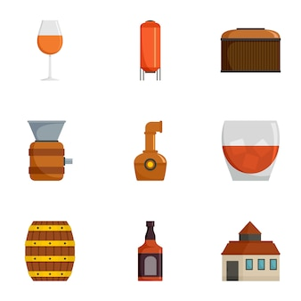 Conjunto de ícones de plantação de uva, estilo cartoon