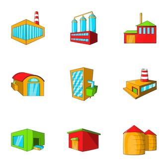 Conjunto de ícones de plantas, estilo cartoon