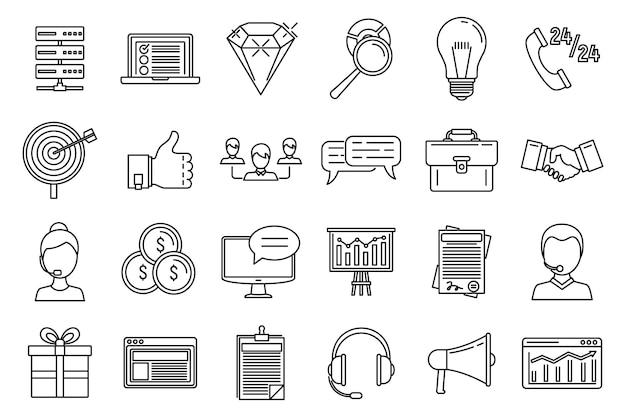 Conjunto de ícones de plataforma de crm