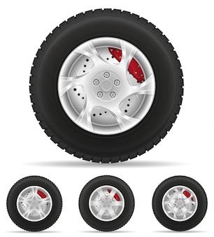 Conjunto de ícones de pneu de roda de carro do disco