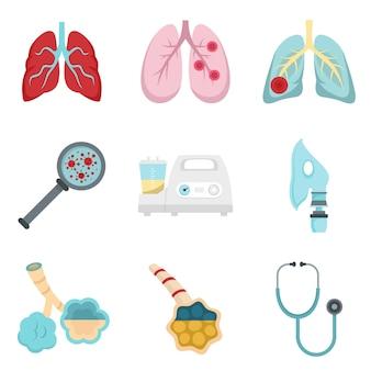 Conjunto de ícones de pneumonia
