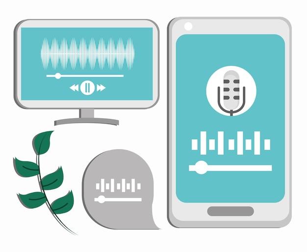 Conjunto de ícones de podcast, computador e smartphone