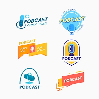 Conjunto de ícones de podcast, palestras em quadrinhos. banners ou rótulos para transmissão online. emblemas de programa de áudio com microfone e balões de fala. transmissão ao vivo, logotipo isolado de entretenimento. ilustração vetorial