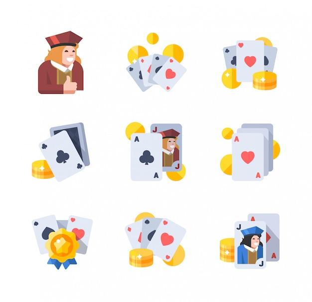 Conjunto de ícones de poker, black jack ou bacará - jogo de cartas de vetor ou símbolos de cassino