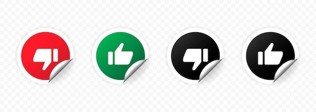 Conjunto de ícones de polegar para cima e para baixo isolado