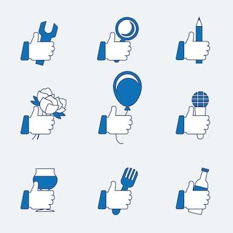 Conjunto de ícones de polegar para cima