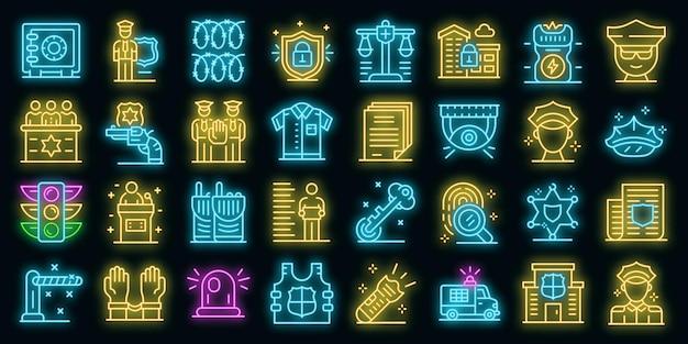 Conjunto de ícones de policial. conjunto de contorno de ícones de vetor de policial cor de néon no preto