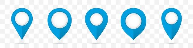 Conjunto de ícones de ponteiros de mapa de pinos azuis com sombra
