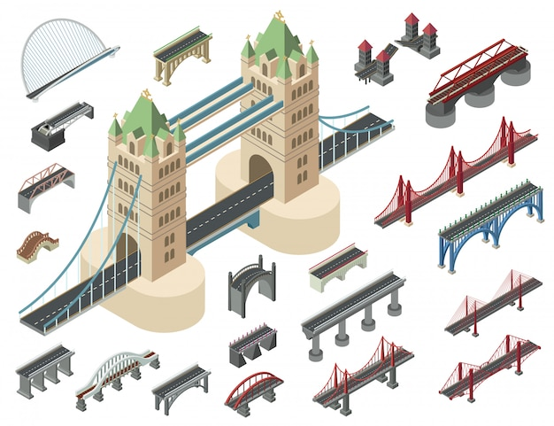 Conjunto de ícones de pontes, estilo isométrico
