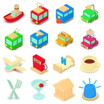 Conjunto de ícones de pontos de interesse. ilustração dos desenhos animados de 16 pontos de ícones do vetor de interesse para web