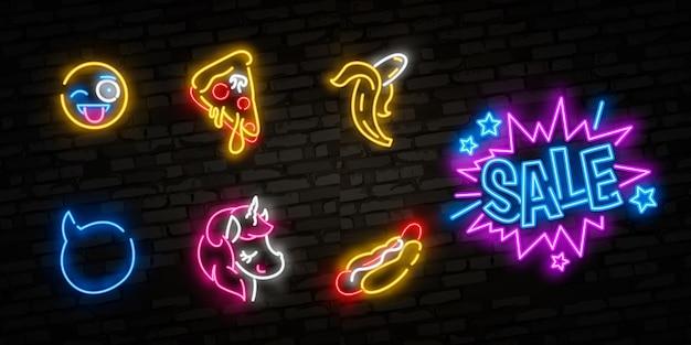 Conjunto de ícones de pop art. sinal de néon de pop art. tabuleta brilhante, faixa de luz.