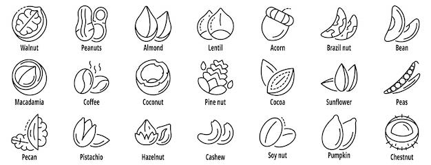 Conjunto de ícones de porca, estilo de estrutura de tópicos