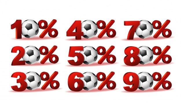 Conjunto de ícones de porcentagem de desconto com bola de futebol