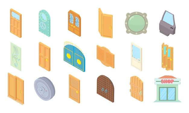 Conjunto de ícones de porta Vetor Premium