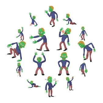 Conjunto de ícones de poses de zumbi, estilo cartoon