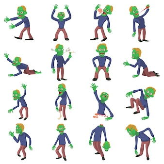 Conjunto de ícones de poses de zumbi