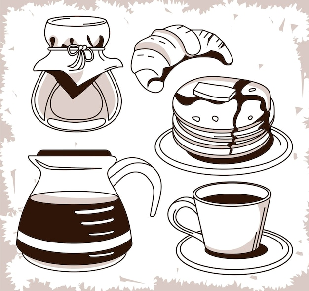Conjunto de ícones de pôster de café da manhã