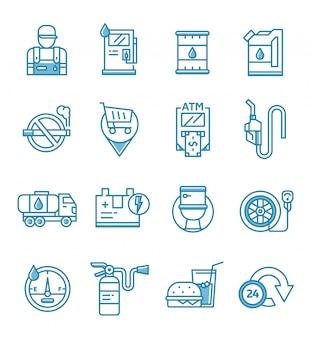 Conjunto de ícones de posto de gasolina e gasolina com estilo de estrutura de tópicos