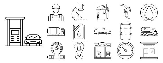 Conjunto de ícones de posto de gasolina, estilo de estrutura de tópicos