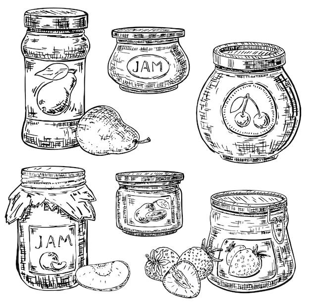 Conjunto de ícones de pote de geléia de frutas de mão desenhada de tinta