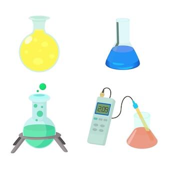 Conjunto de ícones de potes químicos