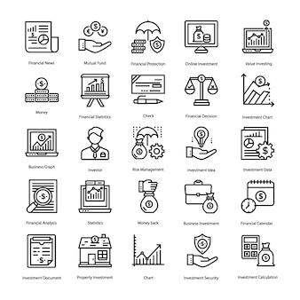 Conjunto de ícones de poupança e investimento