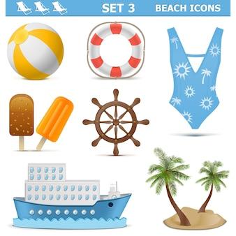 Conjunto de ícones de praia 3 isolados no branco